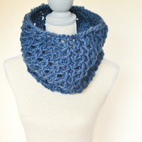 Navy Crochet Cowl - Ready to Ship - Chunky Crochet Cowl - Fall Scarf