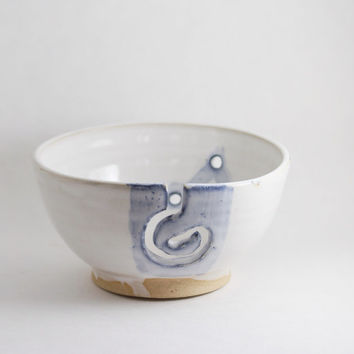 Blue & White Yarn Bowl for Knitting, 5 inch - single skein, constellation Knit Knitters or Crochet, Wheel Thrown stoneware pottery ceramic