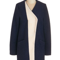 ModCloth Minimal Long Long Sleeve Golly Gee-ometric Coat in Navy