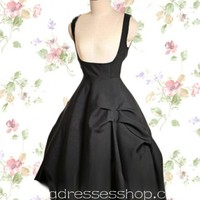 Black Knee-length Low Cut Cotton Gothic Lolita Dress With Oblique Cutting Style