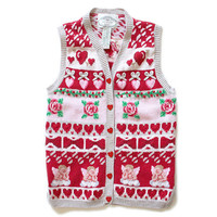 Angels & Hearts Valentine's Tacky Ugly Sweater Vest Women's Size Small (S)