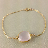 Rose Quartz Bezel Bracelet, Vermeil Gold Gemstone Connector, Dainty, Chrsitmas Gift, Bridesmaid Gift, Wedding, Anniversary Gift, Baby Pink