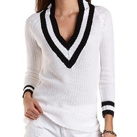 Ribbed V-Neck Varsity Sweater by Charlotte Russe - Ivory Combo