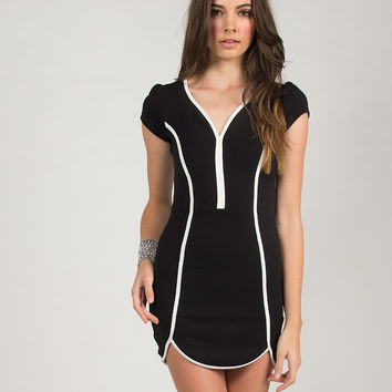 Sporty Inset Body Con  Dress - Black - Black /