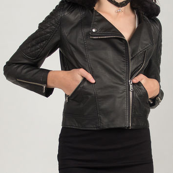 Aviator Moto Leather Jacket - Black /