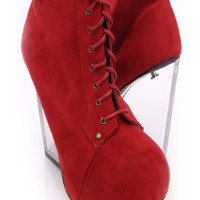 Red Lace Up Clear Wedges Faux Suede