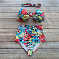 Bow Bandeau Bikini - Vintage Style High Waisted Pin-up Swimwear -  Beautiful Bold Floral Print - Unique & So Cute!