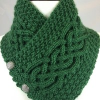 Neckwarmer Irish Celtic Knot Dark Sage Green Hand knit Caron Simply