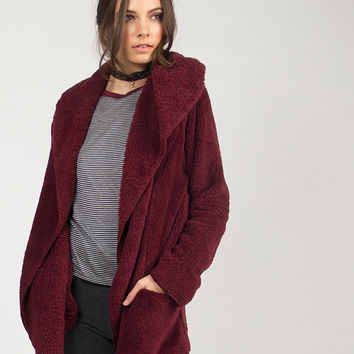 Soft Cozy Hooded Jacket - Burgundy - Burgundy /