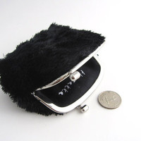 Handmade Frame Coin Purse-- silver side lock frame- black soft fur
