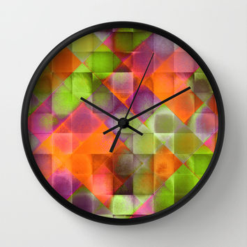 CHECKED DESIGN II-v8 Wall Clock by Pia Schneider [atelier COLOUR-VISION]
