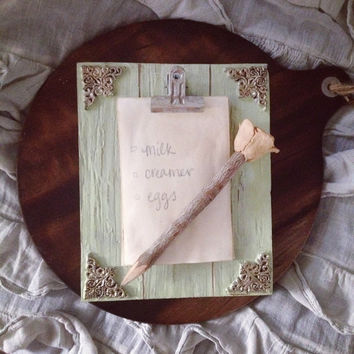 Ornate Gold Embellished Wood Frame with Paper & Sawdust Rose Pencil | Notepad | Grocery List