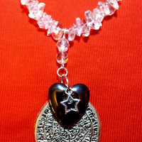 Handcrafted Clear Quartz Crystal with Hematite Heart Necklace