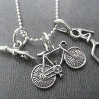 STERLING SILVER SWIM BIKE RUN - Choose your RUN Charm - Sterling silver pendants on Sterling Silver Ball Chain