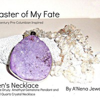 Men's Necklace Genuine Druzy Amethyst And Quartz