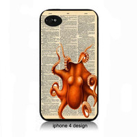 Octopus Dictionary page design iphone 4 cell phone accessory case, iphone 4/4s cover