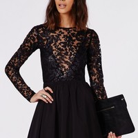 Missguided - Addison Sequin Lace Skater Dress Black
