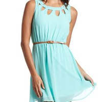 Belted Cutout A-Line Dress: Charlotte Russe