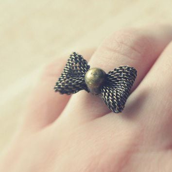 little bow ring by bellehibou on Etsy