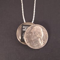 Secret Compartment Necklace - Sterling Silver Chain Real American Nickel Hollow Coin