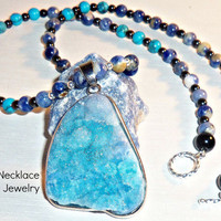 "Men's Necklace ""Strong, Successful & Confident""  Machu Picchu inspired-Blue Druzy Quartz, Sodalite, Jasper, Turquoise, 925 Silver"