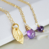 Amethyst Necklace Layering in Gold by livjewellery on Etsy