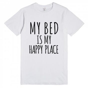 My Bed Is My Happy Place T-shirt-Unisex White T-Shirt