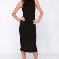 Get Carried Away Black Midi Dress