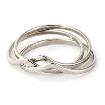 Stackable Wishbone Chevron Rings- Set of 3 - Silver /