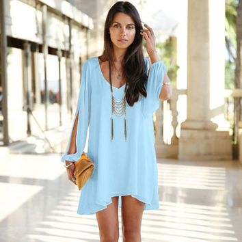 Long-sleeved chiffon dress GG716CE (S, sky blue)