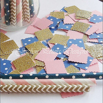 Party Confetti, Pink, Navy, Gold Glitter, Nautical Shabby Chic, Birthday, Baby Shower, Wedding, Bridal Shower, Table Scatter, 150 Piece