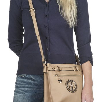 medallion trim adjustable strap crossbody bag