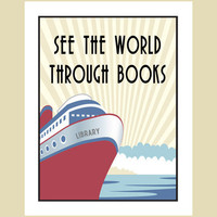 Books poster - vintage travel style By Visuaria