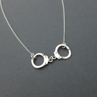 sterling silver handcuff necklace gift for her