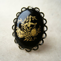 Libra Zodiac Ring. Vintage Ring, Adjustable Ring, Antique Brass Ring with Vintage Glass Cabochon. Lace Bezel Steampunk.