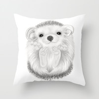 Baby Hedgehog Throw Pillow by Veronica Ventress