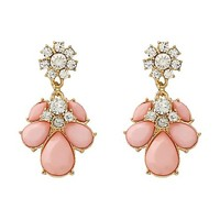 Faceted Stone Drop Earrings by Charlotte Russe - Lt Pink