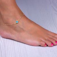"Clover anklet, Turquoise anklet, good luck anklet, foot jewelry, gold ankle bracelet, bridesmaid jewelry, tiny anklet, ""Turquoise clover"""
