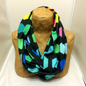 Colorful Knit Scarf - Dark Side of Hexagons Infinity Scarf