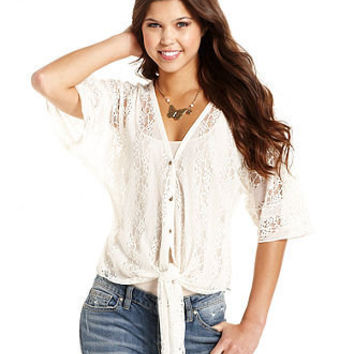 Jessica Simpson Juniors Top, Short Sleeve Emilia Lace Tie-Front - Juniors Tops - Macy's