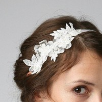 Vintage lace trim bridal headband on off white silk ribbon ties