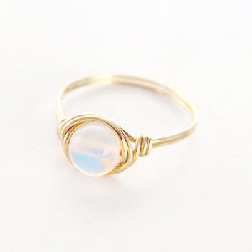 Simple Opal ring - unique rings - custom