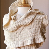 Knit Rococo Shawl - Organic Cotton - Romantic Shrug Bolero Wrap Option for Brides, Weddings - Ivory Cream - Eco-Chic