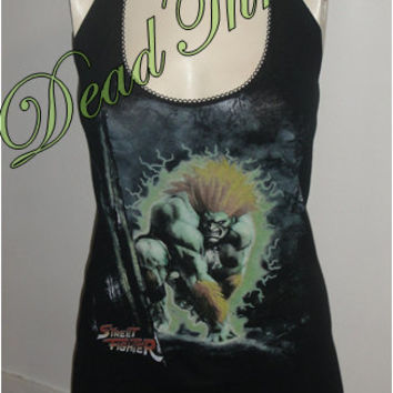 Halter Top Shirt Dress Made From Street Fighter Blanka T shirt Size Small