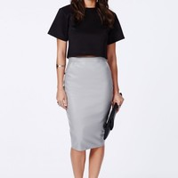 Missguided - Mariota Grey Faux Leather Pencil Skirt