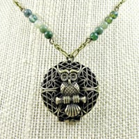 Owl Locket Necklace, Antique Bronze necklace, Boho Chic, with Green Jasper