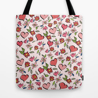 Love and Flowers - Pink Marsala Tote Bag by Lisa Argyropoulos