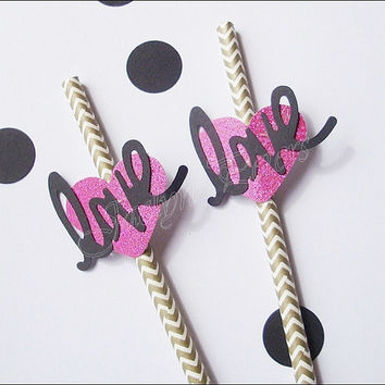 Party Straws, Gold, Hot Pink Glitter Heart, Word Love, Wedding Decoration, Bridal Shower Supply, Valentine's Day, Set Of 24, FREE SHIPPING