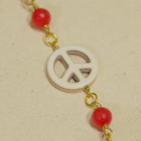 Chunky Beaded Peace Sign Bracelet - Deep Pink Faceted Jade Wire-Wrapped Beaded Bracelet w/ White Howlite Peace Sign