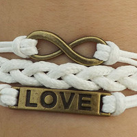 Bracelet --- true love bracelets, antique silver LOVE bracelet, unlimited bracelets, white woven bracelet